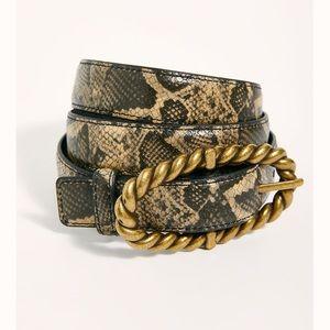 Free People Sophie Leather Snake Print Belt